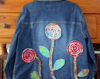 Upcycled Artsy Denim Jacket Chenille Flowers XL
