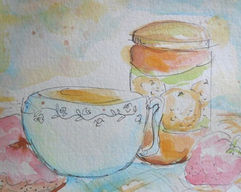 """FREE SHIPPING ORIGINAL watercolor and ink painting, not a print, """"Tea, Donut, Jam"""""""