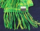 SALE Vintage Handwoven Wool Scarf Green Yellow 100% Merino Wool Hand Loomed