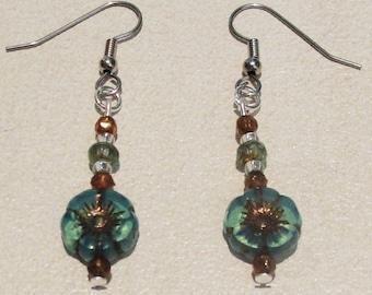Hibiscus Flower Czech Glass Earrings with Czech Glass Beads.