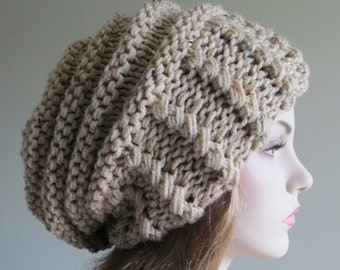 SALE Slouchy Beanie Slouch Hats Oversized Baggy Beret womens fall winter accessory Beige Super Chunky Hand Made Knit