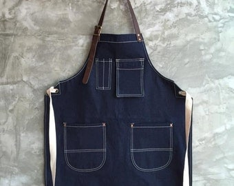 New Denim Apron w/Leather Copper rivets workwear/baristas/chefs/barbers Handmade