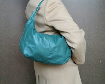 Green Leather Hobo Bag, Fashion Everyday Shoulder Handbag, Handmade Purses, Rosses