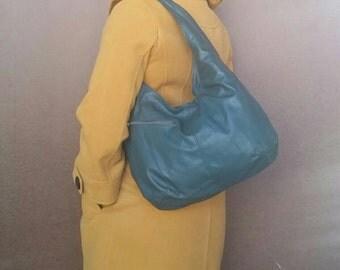 Green Leather Slouchy Hobo Purse with Outside Pockets - Fashion and Casual Hobo Bag - Everyday Handmade Handbag - alicia