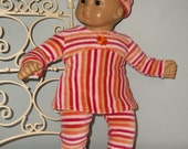 15 or 16 inch doll or Bitty Baby or Bitty twin 3 piece outfit, soft velour top, leggings and headband