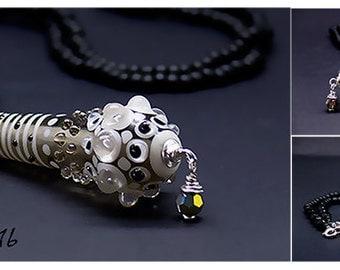 Chrystal - Dark & White - Necklace - Glass Art by Michou P.Anderson