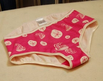 Pink sand dollar and jellyfish organic cotton underwear, girls bikini and brief style panties, sizes 1T 2T 3T 4T 5T 6 8 10