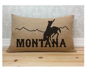 Montana Pillow, Cowboy Pillow, Western Pillow, State Pillow, Burlap Pillow, Oblong Pillow, Lumbar Pillow, Long Pillow, Western Decor