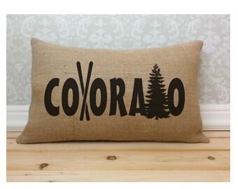 Colorado Pillow, Ski Poles, Western Decor, State Pillow, Burlap Pillow, Oblong Pillow, Lumbar Pillow, Long Pillow, Skiing Home Decor