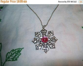 50% OFF rhinestone flower pendant, silvertone flower pendant necklace, fashion necklace rhinestones