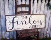Large Custom Family Last Name Established Date Rustic Distressed Farmhouse Style Framed Wood Sign 14x36