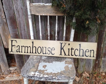Farmhouse Kitchen Primitive Distressed Rustic Wooden Sign Straight Edge 5.5x30