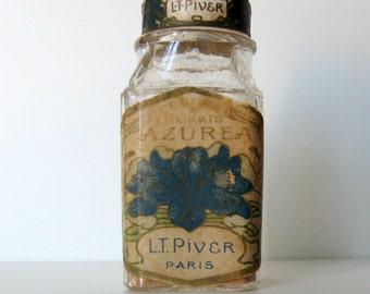 RARE Vintage AZUREA L.T. PIVER poudre a sachets Powder Bottle France Stamp Cork top