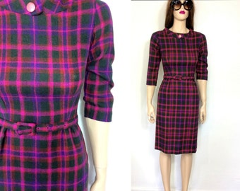 Vintage 50's Dress Wiggle Dress Rockabilly Early 60s Bombshell Sexy Dress Plaid Pink Secretary Dress MCM Wool Pencil Skirt Extra Small xs