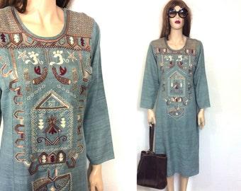 Vintage East Indian Dress Kurta Hippie Dress Bohemian Kaftan Beaded Embroidered 60s 70s Boho Dress Ethnic Tunic Tribal Caftan Clothing Kurti