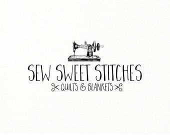 sew logo hand drawn premade vintage sewing machine - Logo Design #717