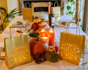 Happy Thanksgiving Paper Lantern - Give Thanks luminary bag