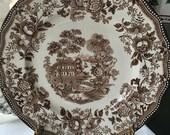 Set of 3 Clarice Cliff Tonquin Dinner Plates Royal Staffordshire  Brown Transferware Englush Transferware 10 inches
