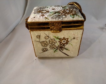 Fuji Bag, Hand Made Box and Beaded Purse,  White with Flowers, Perfect for Wedding