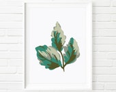 Cherry Leaves Botanical Print Design 1, Nature Wall Art, Green Cherry Leaf Plate, Abstract Art, Tropical Design, Digital Download Printable