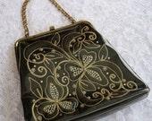 ON SALE vintage. HANDBAG. purse. Black. vinyl. Pearl. rhinestone. 1960s.