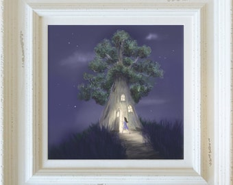 Home Tree, Limited Edition Giclee Print in a Wooden Shabby Chic Frame