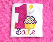 Appliqué Cupcake Shirt, Birthday Cupcake with Balloon Shirt, Girls Appliqué Shirt, Polka Dots T-Shirt or Bodysuit, Girls Tops