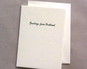 GREETINGS FROM PORTLAND letterpress card