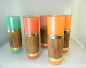 Reserved for David Vintage Siesta Ware Glasses Tall Walnut Wrapped Glasses Colorful Tiki Glasses Set 6