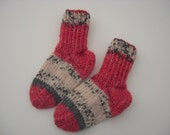 Hand knitted baby socks; different colors; 0 - 4 months