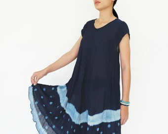 NO.88 Indigo Blue Cotton Tie Dyed Tunic Dress, Short Sleeve Tie-Dye Dress, Bias Cut Sundress, Women's Dress