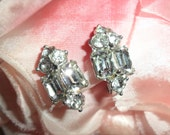 Vintage Art Deco Sparkling Rhinestones on Silver Tone Clip On Earrings Elegant Downton Abbey Era Flapper Style Signed Bogoff 1930s Stunning!