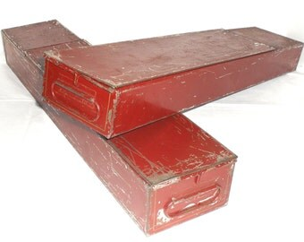 Vintage Pair of Red & Gold Bank Safe Deposit Boxes. Both latching with Handles on both end. Metal and Tin