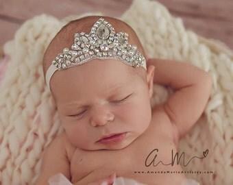 Tutu Bloomers - Ivory & AB crystal princess Crown headband - diaper cover ruffle newborn bloomers in off white cake smash set newborn
