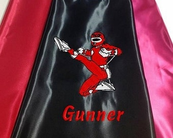 Kid's Super Hero Cape, Red Karate Cape Embroidered Personalized with Monogram