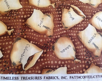 DESTASH Fabric - 2 yards of Brown, Tan, Cream & Black Bags of Coffee Beans Patt Coffee-C5719 for Timeless Treasures Cotton Quilting Fabric