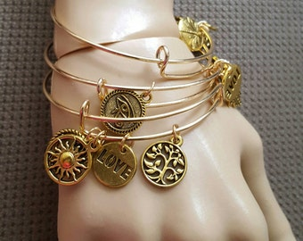 Expandable charm bracelet, , in silver and gold plated
