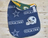 Reversible Dallas Cowboys and Green Bay Packers Baby Bib for the baby with Both Fans in the Family
