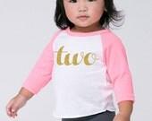 Second Birthday 'Two' Poly Cotton 3/4 Raglan Sleeve Baseball Shirt - Baby Toddler Shirt
