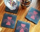 Iowa State Cyclones Slate Coasters Set of 4 - Tailgating, Mancave, husband, boyfriend, brother, birthday