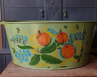Vintage Hand Painted Tub, Green, Fruit design, Storage, Display, Large, Floral, Handles, Container, Home Garden Decor