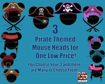 Digital Pirate Mouse Heads – Pirate Mickey Ears – Pirate Minnie Ears Shirt Transfer or Magnet DIY Mouse Head Door Magnet Mouse Head Shirt