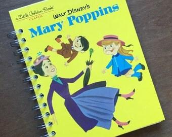 Walt Disney's Mary Poppins Little Golden Book Recycled Journal Notebook