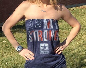 Women's Navy Blue Army Strong Strapless Tube Top Tee Shirt  Small