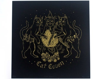 Cat Coven - Limited Edition Gold Screenprint