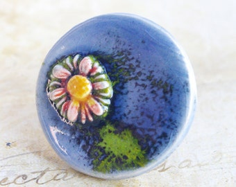 Blue Daisy ring Large Round Ceramic Flower ring