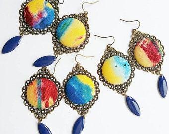 Tie Dye earrings, multicolor chandelier earring, painted, abstract design, modern, grunge, punk, indie, Unusual jewelry, tie die, tye dye