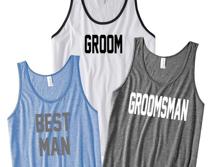 Featured listing image: Groom Shirt, Groom Gift, Groom Gift from Bride, Engagement Gift, Groomsmen Gift, Groomsman Gift, Bachelor Party Shirts, Bachelor Party Tanks