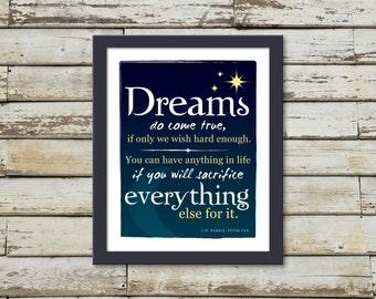 Peter Pan Dreams Inspirational Quote Print