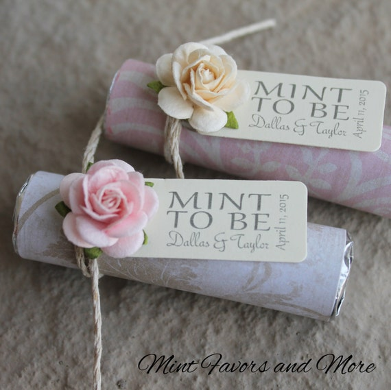 Great Wedding Gifts Under 100 : Blush Wedding FavorsSet of 100 mint rolls with personalized tags ...